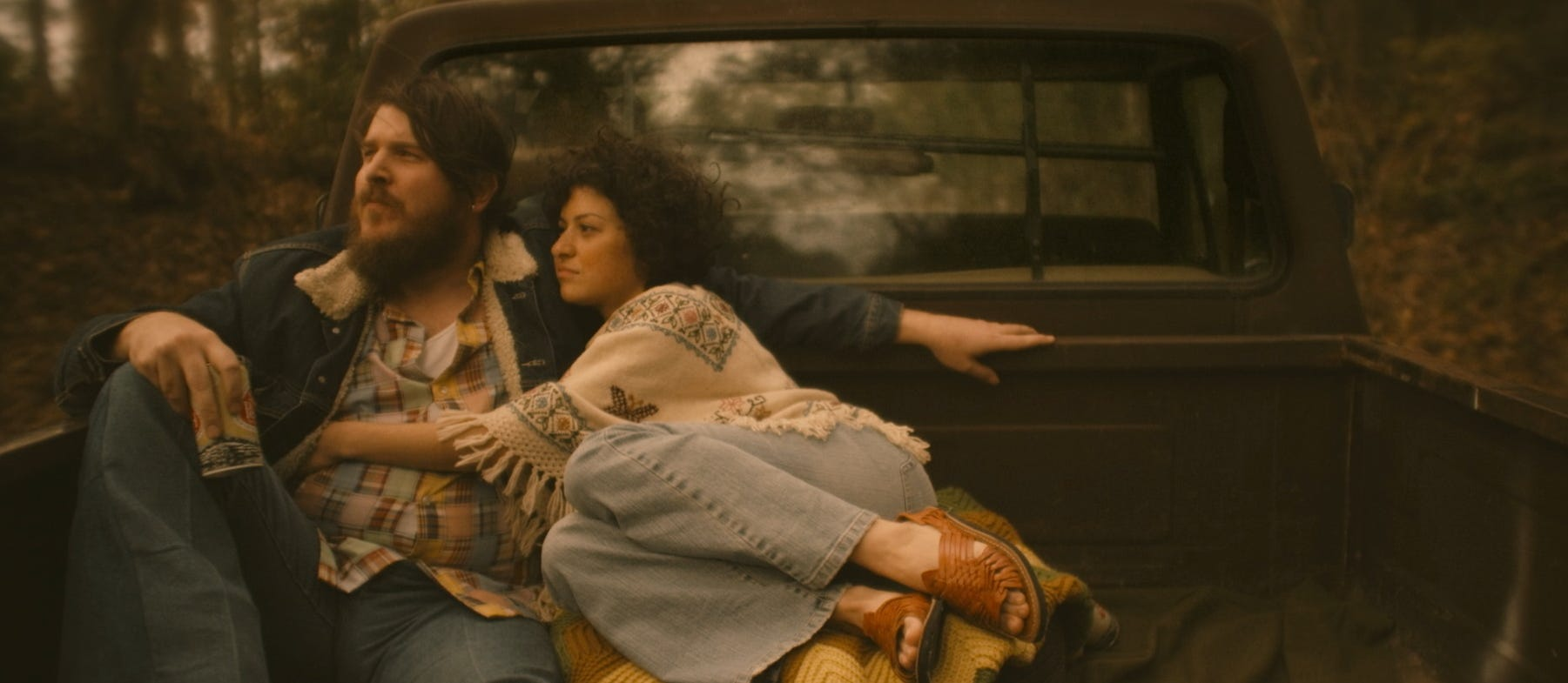 """Ben Dickey (left) plays Blaze Foley, a Texas singer-songwriter legend in the making, with Alia Shawkat as his wife and muse, Sybil Rosen, in """"Blaze."""""""