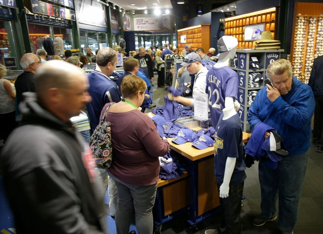 The Milwaukee Brewers pro shop at Miller Park was busy in October with customers looking to buy National League Central Division championship merchandise.