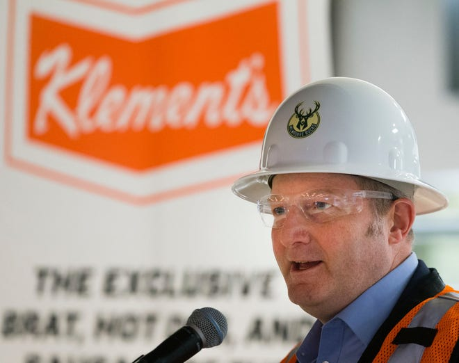 Klement's Sausage Co. president and CEO Tom Danneker speaks at a news conference in April announcing a five-year sponsorship deal between Milwaukee-based Klement's Sausage Co. and the Milwaukee Bucks. Klement's says it will break ground on an expansion on Wednesday, Oct. 3, 2018.