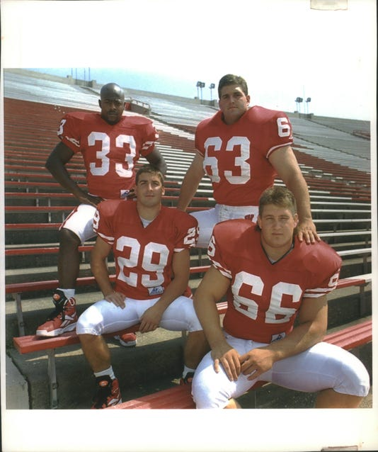 1994 Press Photo University Wisconsin Badgers Football Seniors Co Captains