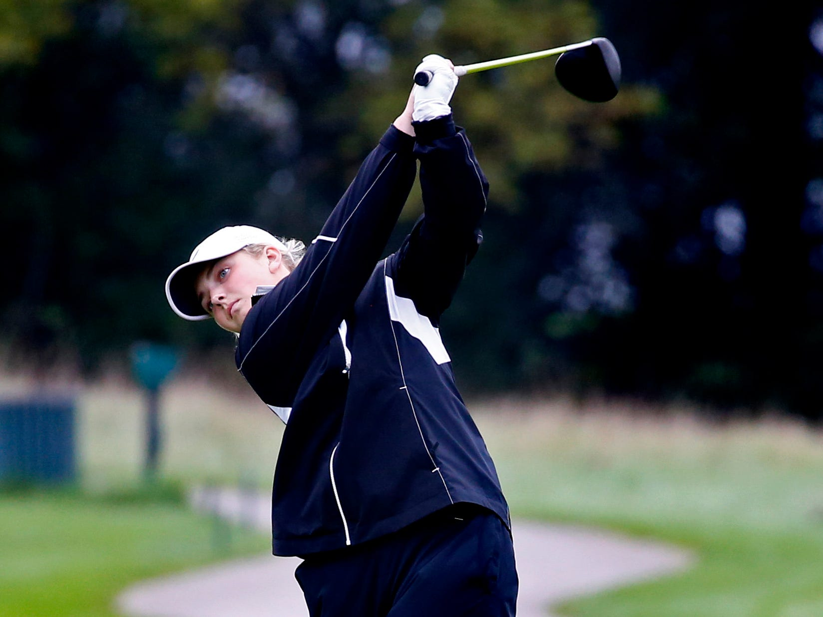 Mukwonago's Ellie Craig tees off the second hole in the WIAA Waukesha sectional at the Broadlands Golf Club in North Prairie on Oct. 2.