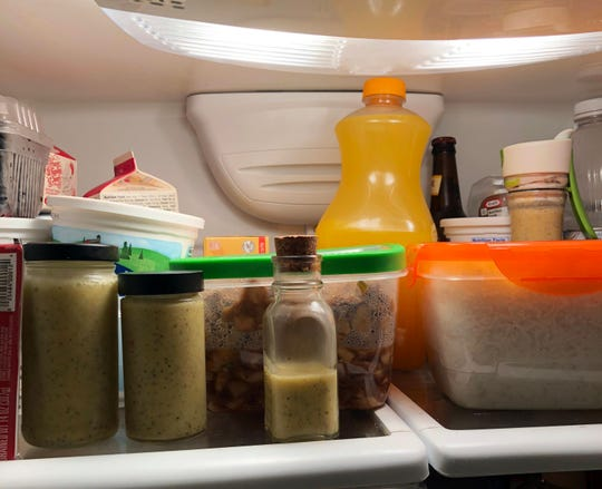 Dressings, white rice, chicken lettuce wraps, orange juice and more await in May Klisch's fridge and freezer for hauling to Chicago to make a special meal for her college daughter and her friends.