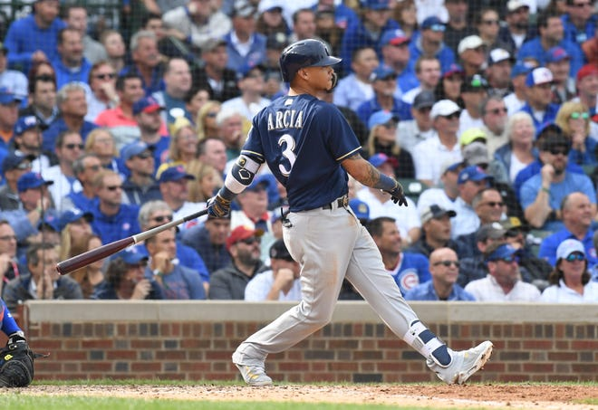 Brewers shortstop Orlando Arcia laces a single to left field against the Cubs in the ninth inning for his fourth hit of the game on Monday.