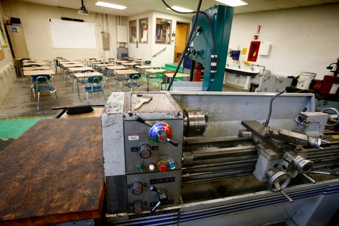 A classroom and machining equipment share the same space in Oak Creek High School. Updating and expanding the school's Career and Technical Education areas is part of the Oak Creek-Franklin School District's $60.9 million referendum on the Nov. 6 ballot.