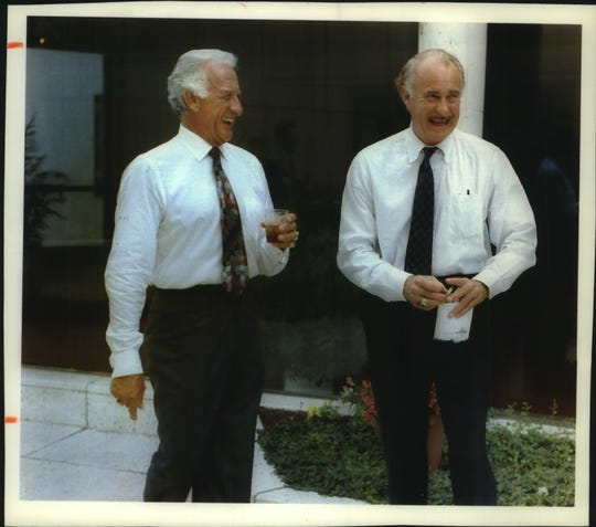 Bob Uecker was inducted into the Wisconsin Performing Arts Hall of Fame in August 1993.  At the reception before his induction, Uecker enjoys a laugh with friend and fellow actor Dabney Coleman.