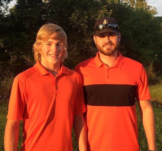 Calico Rock's Cole Whiteaker (left), pictured with coach Alex Skidmore, earned all-state honors in golf for the second consecutive year Monday at the state tournament at Mountain Ranch in Fairfield Bay. Viola's Gage Harris also finished with an all-state score.