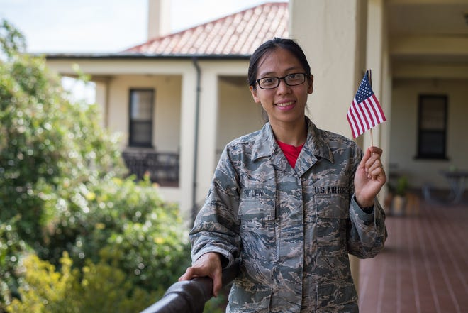 Airman 1st Class Kathrine Butler, Jeanne M. Holm Center for Officer Accessions and Citizen Development personnel specialist, poses for a picture, Sept. 14, 2018, on Maxwell Air Force Base, Alabama. Having grown up in the Philippines, Butler recently obtained her U.S. citizenship, making her one of many other family members to have served in the U.S. military.