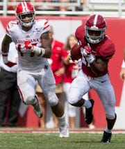 UL linebacker Chauncey Manac (17) chases receiver Jaylen Waddle (17) during UL's loss at No. 1 Alabama earlier this season.