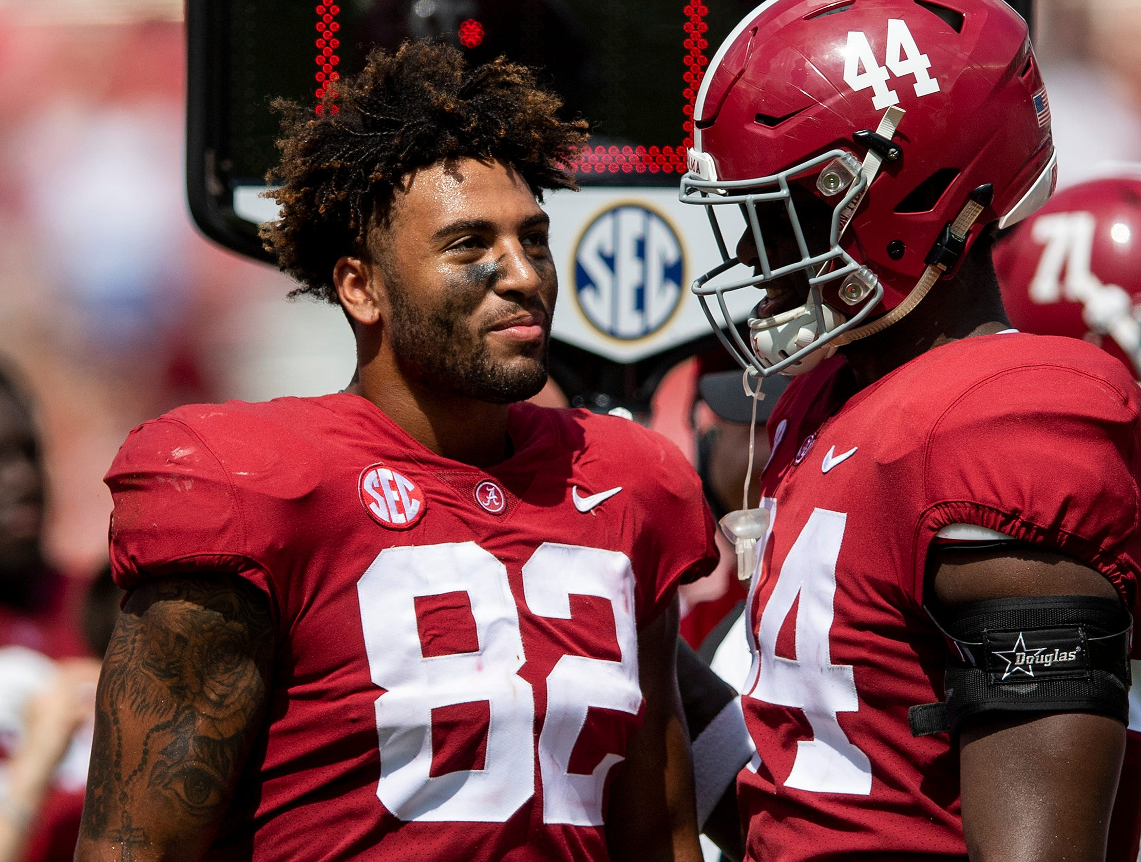 Alabama tight end Irv Smith Jr. (82) during the against Louisiana game at Bryant-Denny Stadium in Tuscaloosa, Ala., on Saturday September 29, 2018.