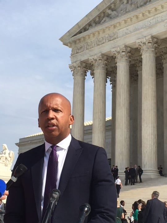 Bryan Stevenson, executive director, of the Equal Justice Initiative, address reporters Oct. 2, 2018 after arguing before the U.S. Supreme Court on behalf of Vernon Madison.