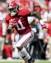 Alabama wide receiver Henry Ruggs, III, (11) scores a touchdown against Louisiana in first half action at Bryant-Denny Stadium in Tuscaloosa, Ala., on Saturday September 29, 2018.