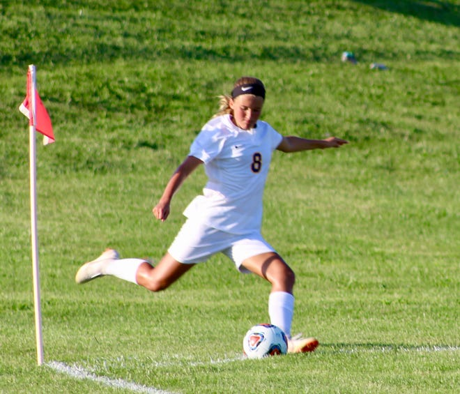 FILE -- Delta's Addie Chester executes a corner kick during a game her freshman season.