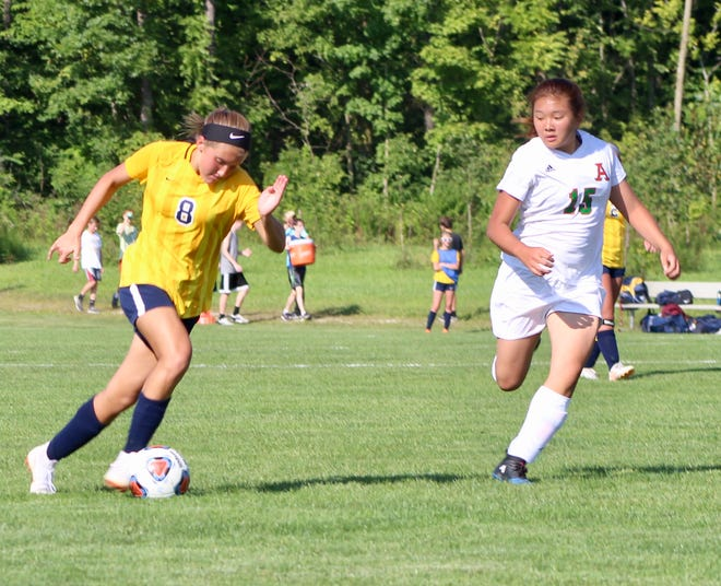 Delta freshman Addie Chester brings the ball down the field during a game against Anderson this season.