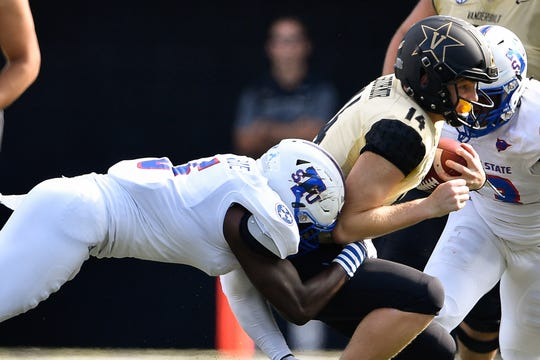 TSU linebacker Christion Abercrombie (6) tackles Vanderbilt quarterback Kyle Shurmur (14) during the first half at Vanderbilt Stadium Sept. 29, 2018. Abercrombie later collapsed on the sideline late in the first half and was in critical condition after emergency surgery for a head injury. Abercrombie was not injured on this play.