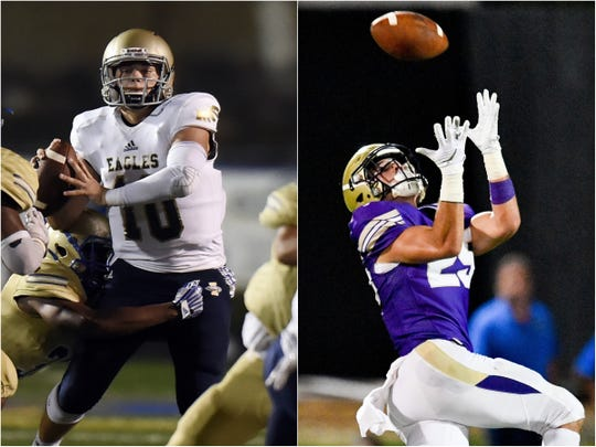 Independence quarterback Ethan Cash (10) and CPA wide receiver Noah Henderson (25)