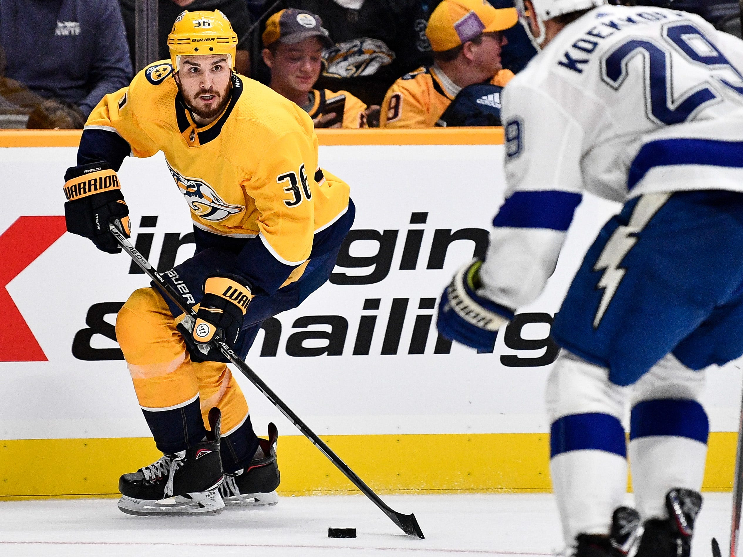 #36, Zac Rinaldo, Forward - Nashville Predators forward Zac Rinaldo (36) advances against the Tampa Bay Lightning during the third period at Bridgestone Arena in Nashville, Tenn., Friday, Sept. 21, 2018.