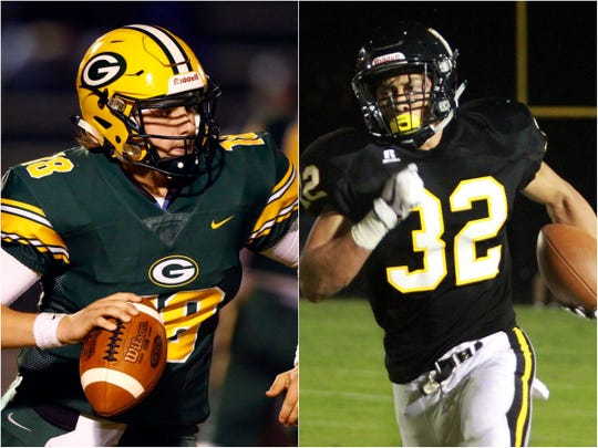 Gallatin quarterback Ander Sloan (18) and Hendersonville running back Derek Kincaid (32)