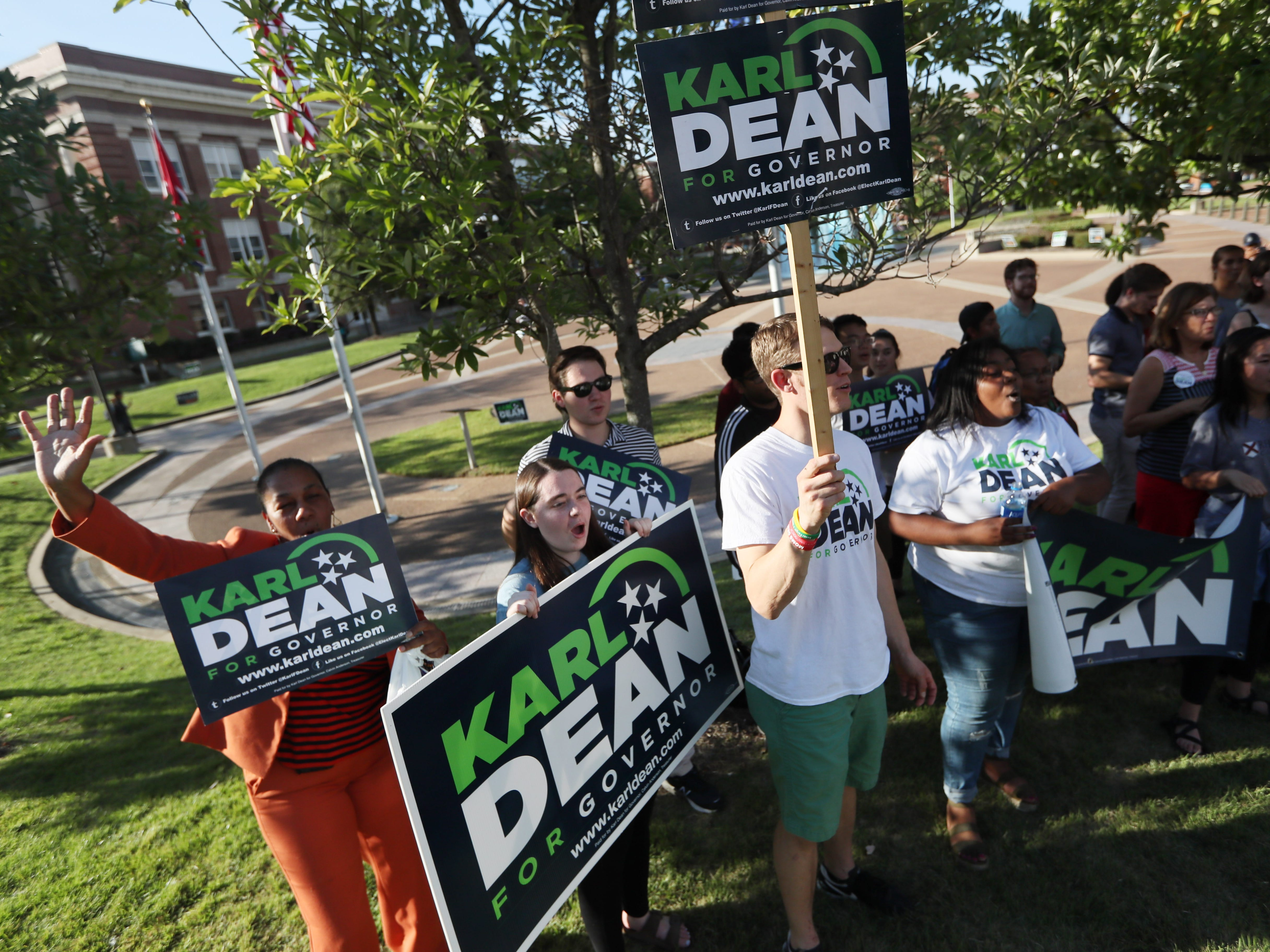 Karl Dean supporters rally outside the debate venue, University of Memphis' Michael D. Rose Theater in Memphis, Tenn., on Tuesday, Oct. 2, 2018.