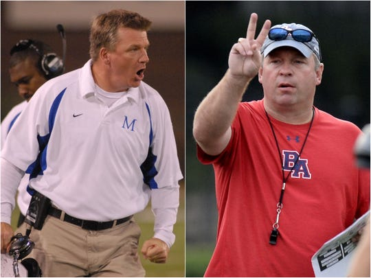 McCallie coach Ralph Potter (left) and Brentwood Academy coach Cody White (right)