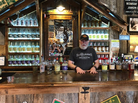 Bartender Bob welcomes visitors to the Tennessee Hills Distillery in historic Jonesborough, Tenn.