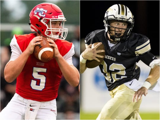 Montgomery Central's Ben Dawson (5) and Springfield quarterback Bryan Hayes (32)