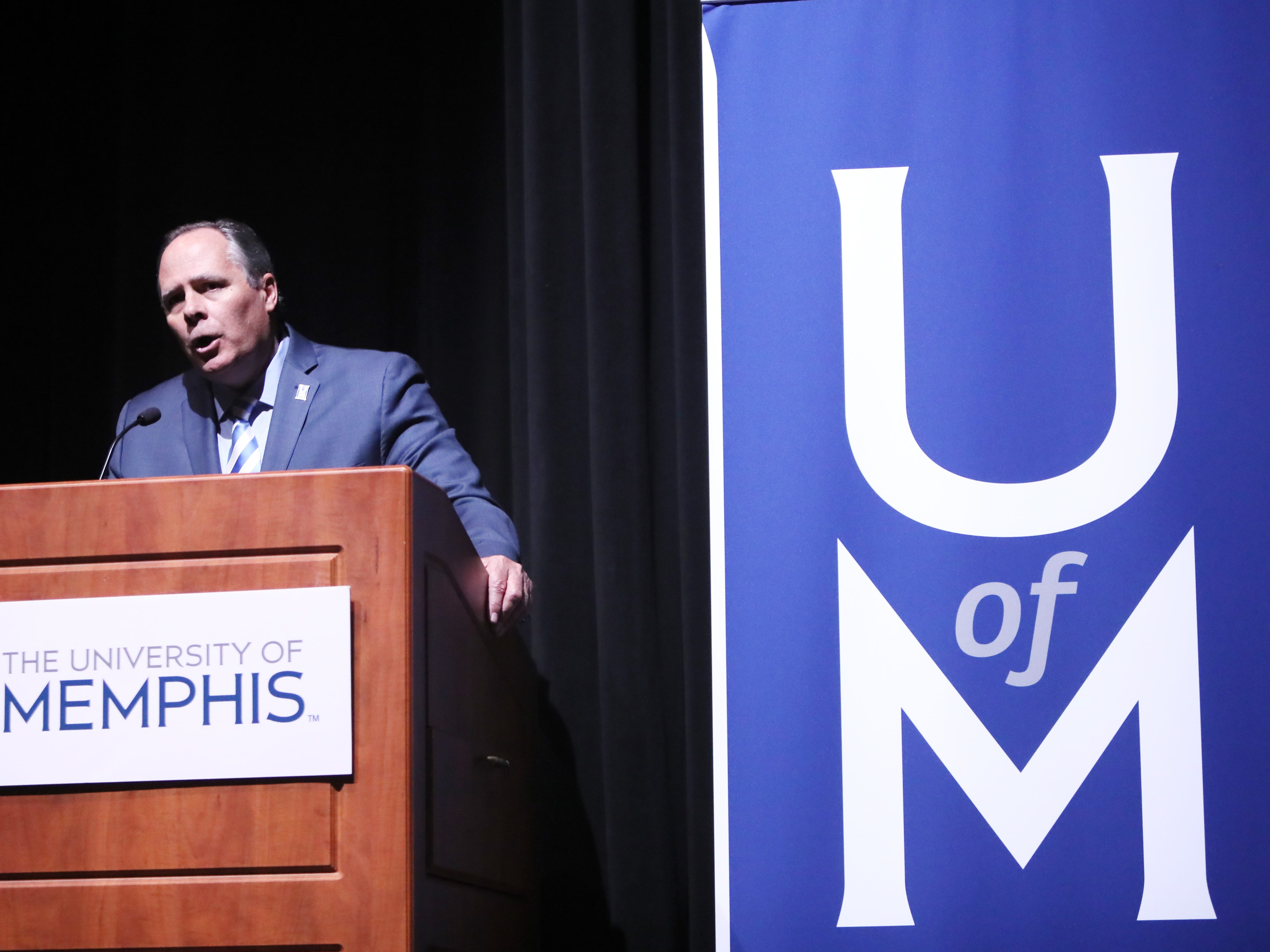 University of Memphis President M. David Rudd speaks before the start of the debate between Tennessee's gubernatorial candidates Democrat Karl Dean and Republican Bill Lee at the University of Memphis' Michael D. Rose Theater in Memphis, Tenn., on Tuesday, Oct. 2, 2018.