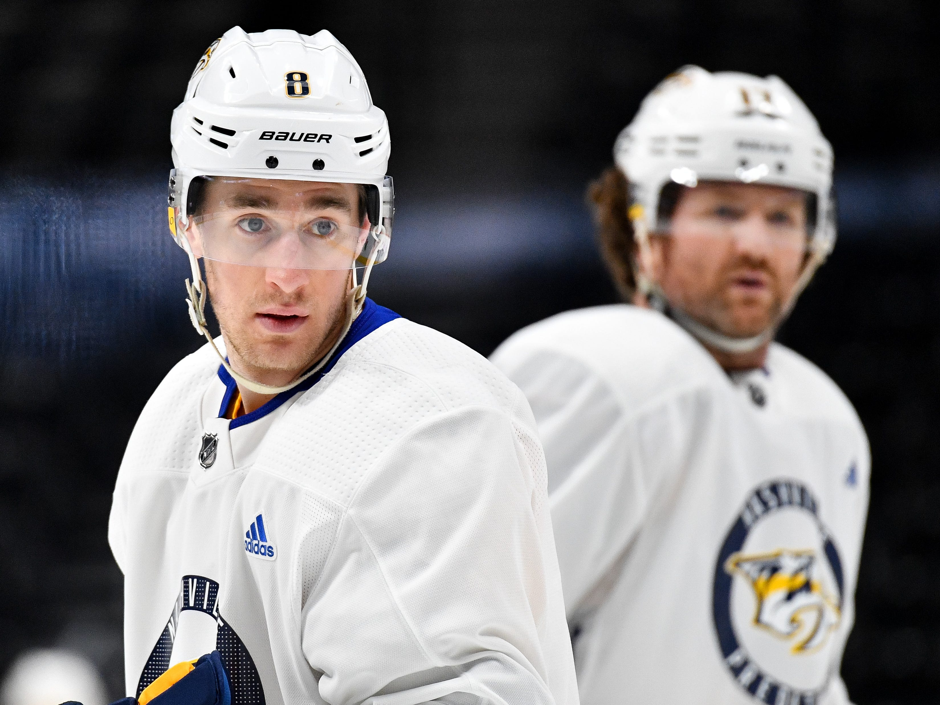 #8, Kyle Turris, Forward - Nashville Predators center Kyle Turris (8) during the morning skate at the Pepsi Center, Monday, April 16, 2018, in Denver, Colo.