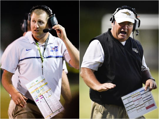 Marshall County coach Thomas Osteen (left) and Giles County coach David O'Connor (right)