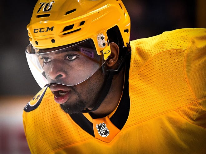 P.K. Subban and the Predators will face the Calgary Flames in their first regular-season home game of the season on Thursday.