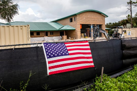 Construction crews continue to work on the new Bonita Springs Fire Department Station 23, as seen on Monday, Oct. 1, 2018.