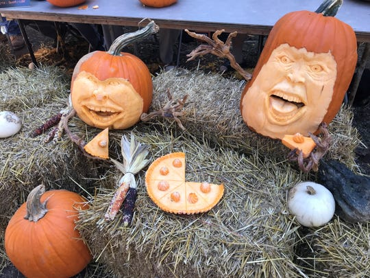 Some of the results of the Sept. 30 master pumpkin carvers' works at Pigeon Roost Farm.