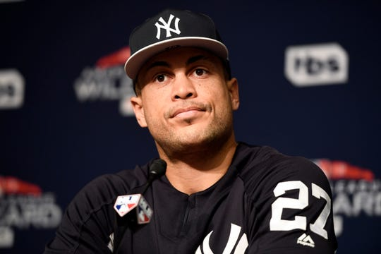 New York Yankees right-fielder Giancarlo Stanton speaks during a press conference on Tuesday, October 2, 2018. The New York Yankees and Oakland A's workout ahead of Wednesday's wildcard game.