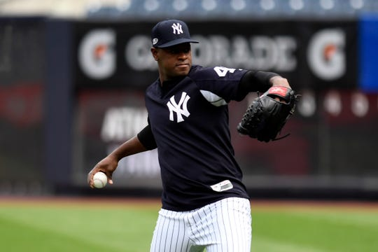New York Yankees pitcher Luis Severino throws the ball during a team workout at Yankee Stadium on Tuesday, October 2, 2018 ahead of the wildcard game against the Oakland A's.