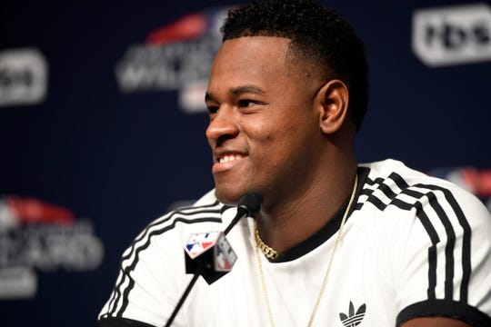 New York Yankees pitcher Luis Severino will start against the Oakland A's in the wildcard game on Wednesday. Severino speaks to the media during a press conference on Tuesday, October 2, 2018.