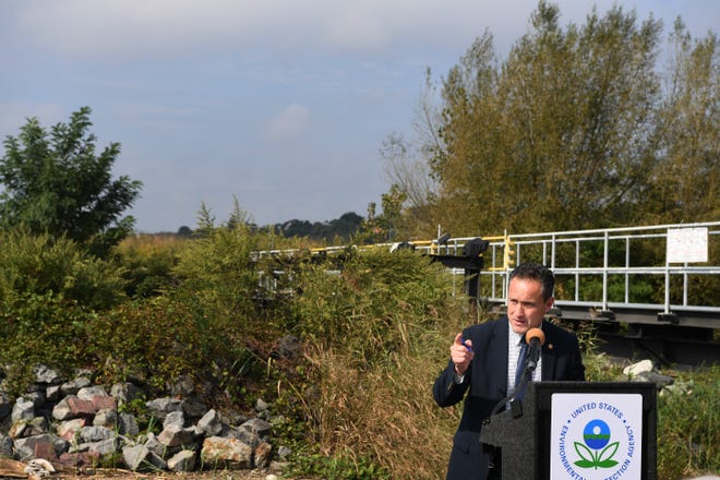 EPA Regional Administrator Pete Lopez during a press conference to announce the EPA's cleanup plan of Berry's Creek on Tuesday, October 2, 2018.
