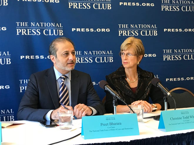 Former U.S. Attorney Preet Bharara and former New Jersey Gov. Christine Todd Whitman outline ethics reform proposals at an Oct. 2, 2018 news conference. They are co-chairs of the National Task Force on Rule of Law & Democracy.
