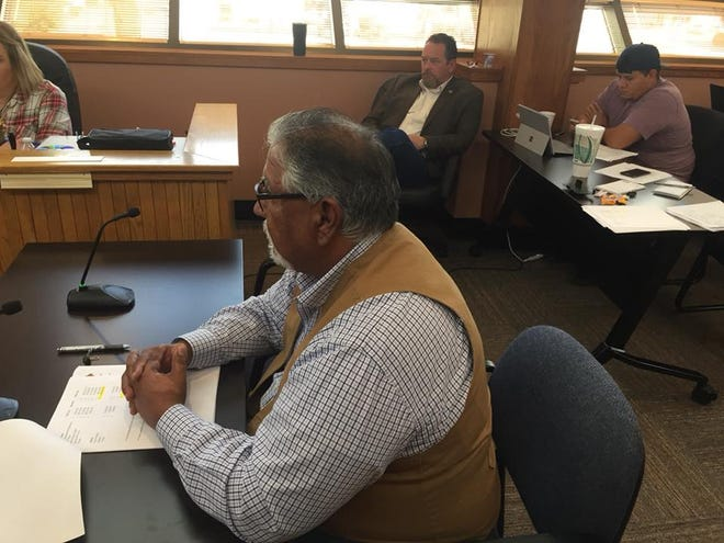 Eddy County Public Works Director Ray Romero makes a request to the Eddy County Board of Commissioners Oct. 2, 2018 to purchase heavy equipment.