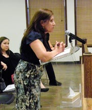 Nancy Hudson speaks at the APS work session Monday.