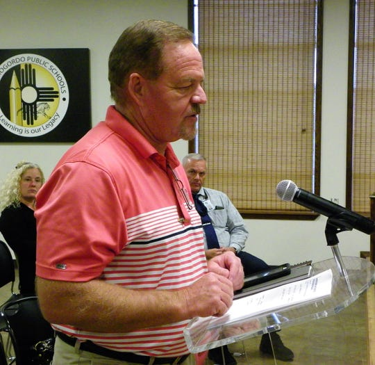 Jim French of MainGate United addresses the APS School Board during a work session Monday evening.