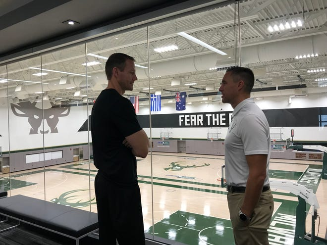 Wisconsin Herd head coach Jordan Brady and general manager Dave Dean discuss the upcoming season at the Wisconsin Sports Science Center.