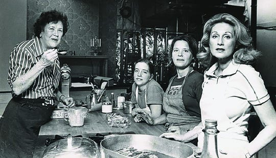 Sara Moulton, second from left, got her start in television with Julia Child in the late 70s.