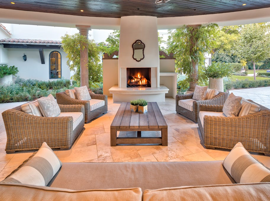 Backyard fireplace.