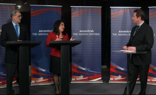 Arizona treasurer candidates Mark Manoil and Kimberly Yee debate at The Arizona Republic on Oct. 1, 2018.