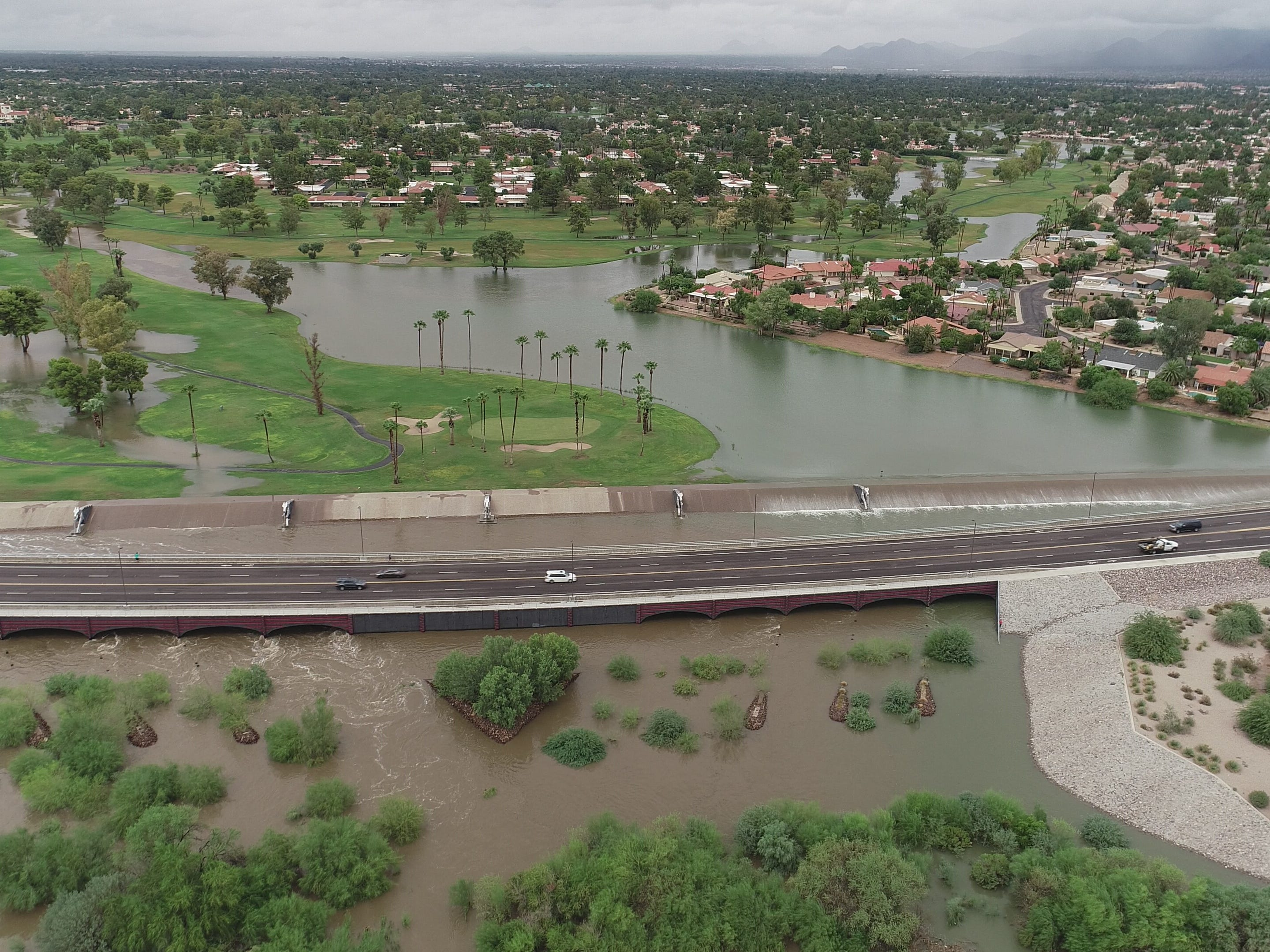 The remnants of Hurricane Rosa hit the Phoenix area Oct. 2, 2018, flooding the Indian Bend Wash Greenbelt in Scottsdale.