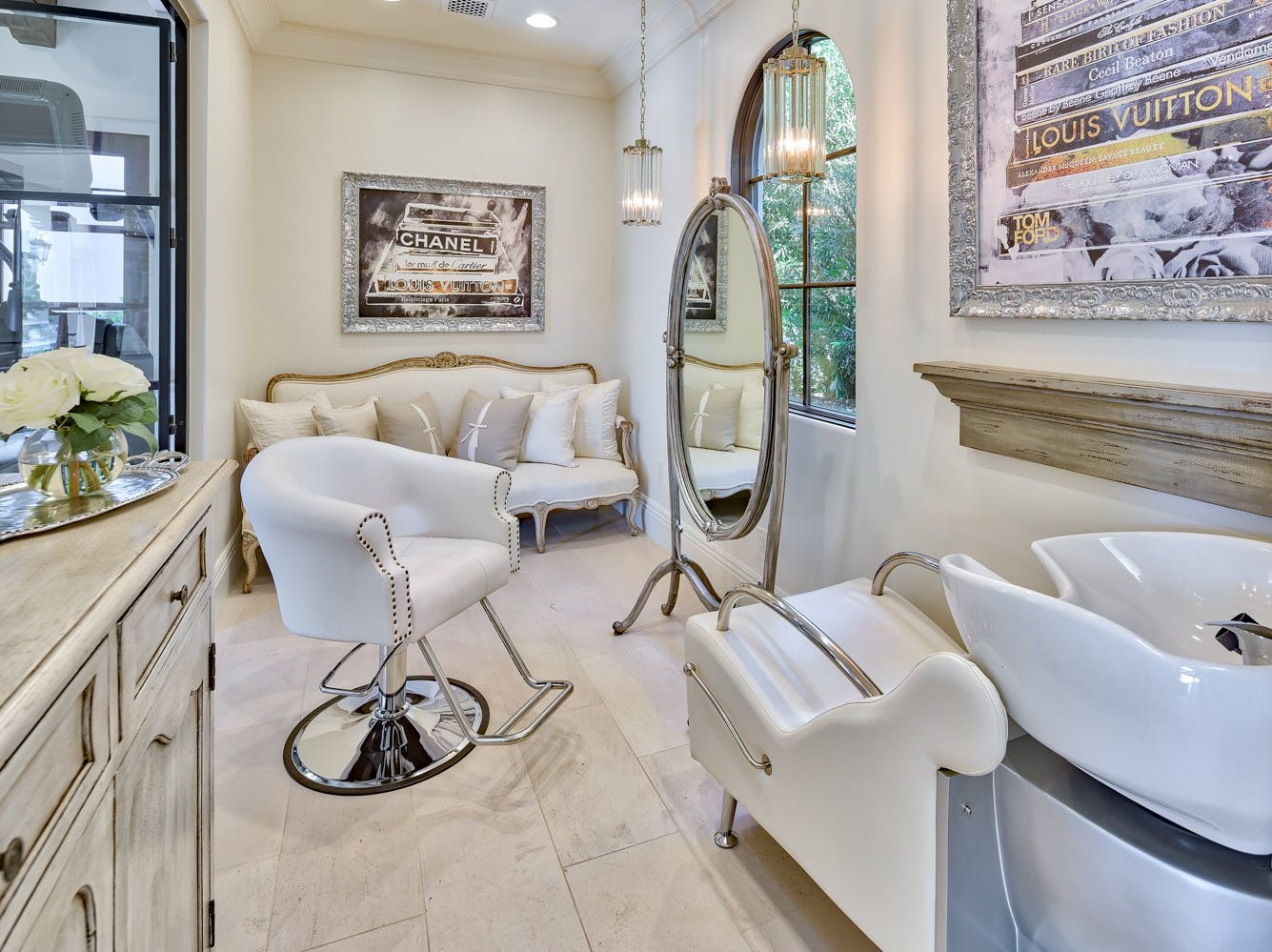 The master suite includes a private hair salon.