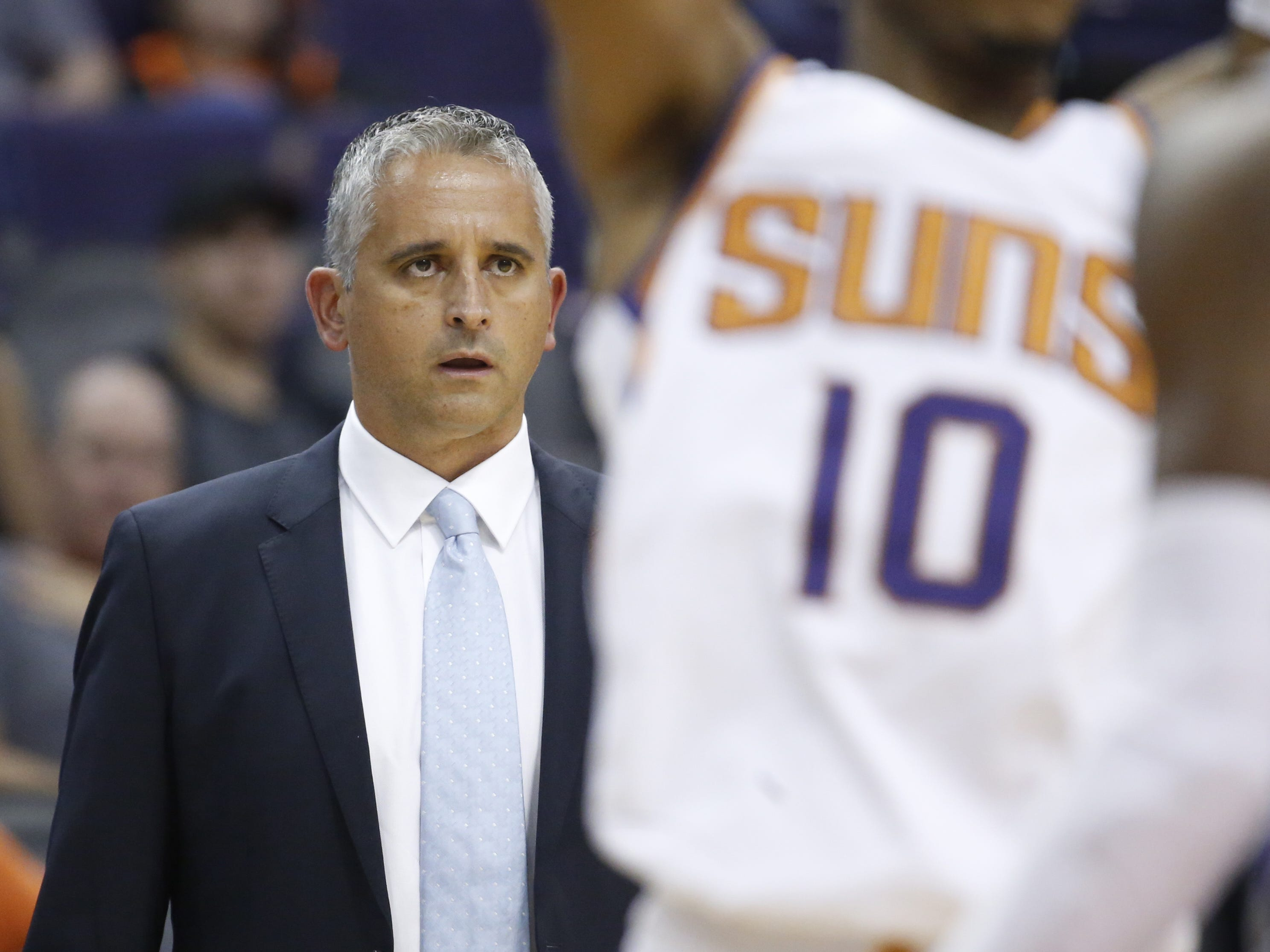 Suns head coach Igo Kokoskov watches his team play the Kings during the first half at Talking Stick Resort Arena in Phoenix, Ariz. on October 1, 2018.