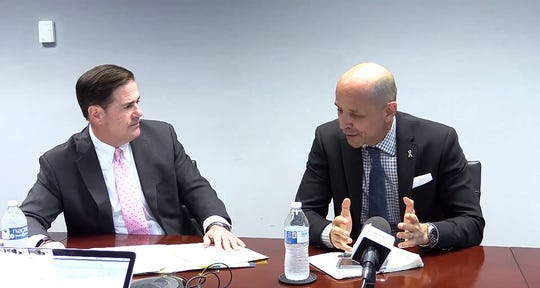 One week after Doug Ducey, David Garcia and Angel Torres met in their first public debate, the gubernatorial candidates appeared in front of The Arizona Republic's editorial board for a joint interview that was lighter on insults and heavier on policy plans.