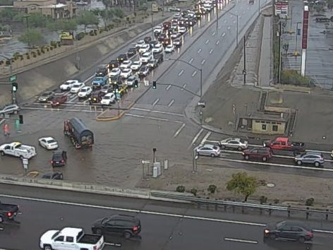 Traffic is backed up where Peoria Avenue was closed because of flooding at Interstate 17 on Oct. 2, 2018.