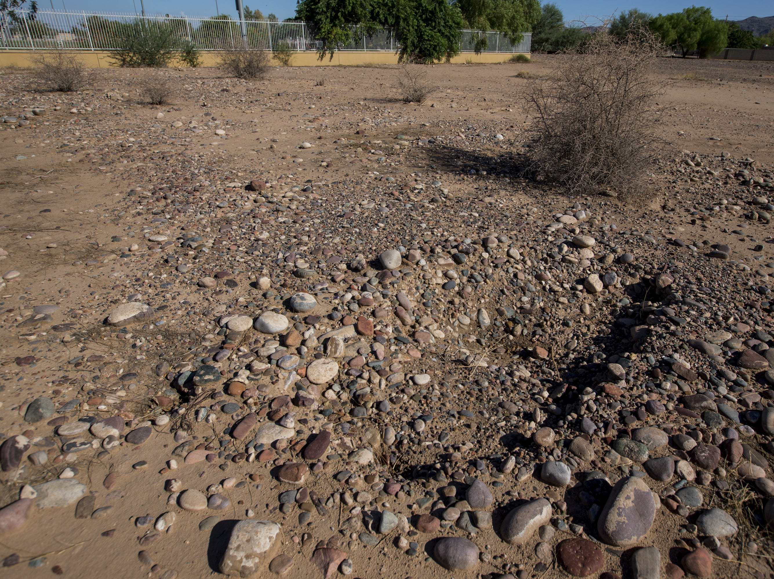An excavated grave is pictured Sept. 20, 2018, at Sotelo-Heard Cemetery in Phoenix. Some of the headstones from the historic cemetery have been moved to their current location to prevent vandalization.