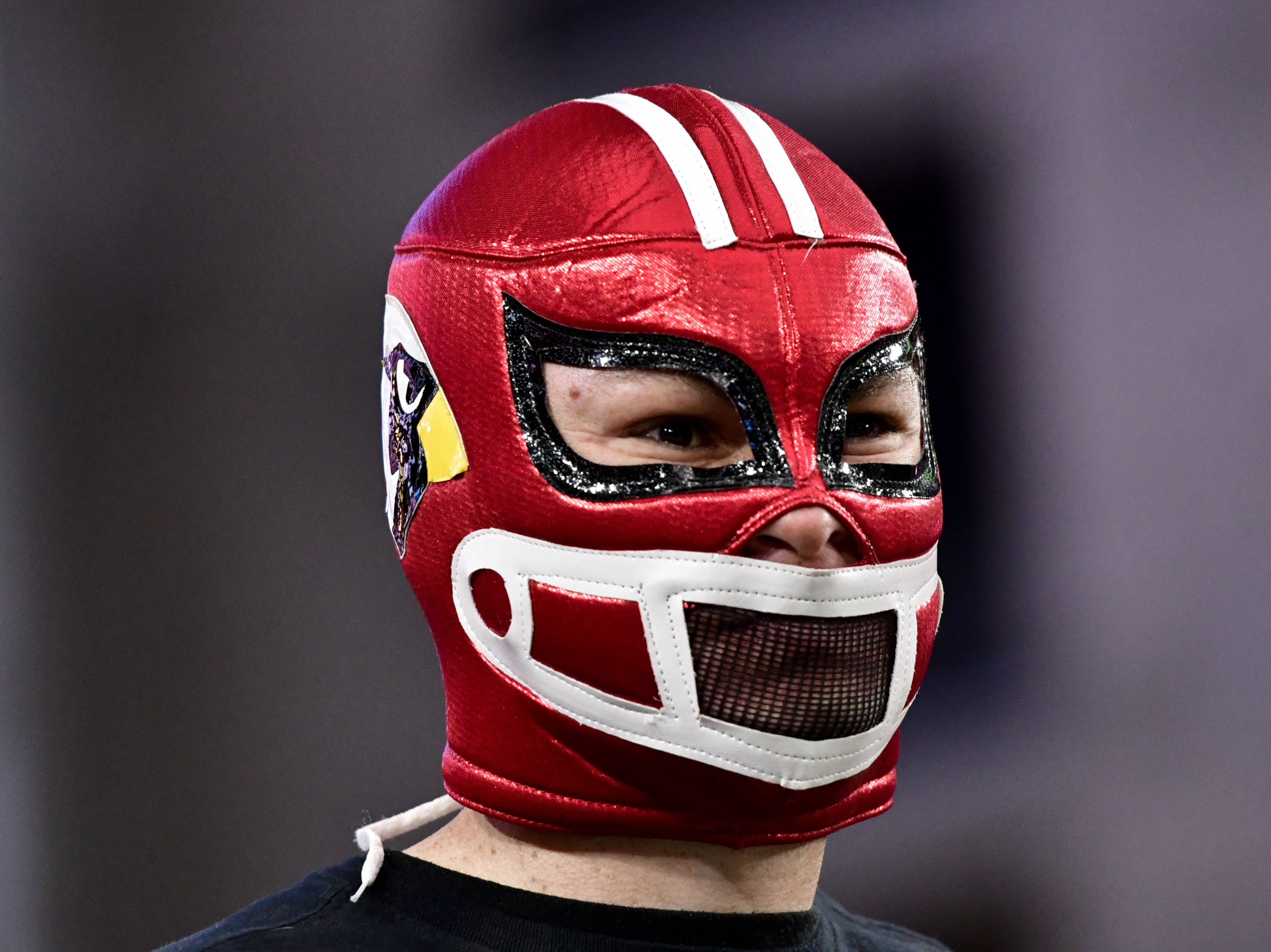 An Arizona Cardinals fan sporting a luchadore mask awaits the start of the game against the Seattle Seahawks on Sept. 30, 2018 at State Farm Stadium.